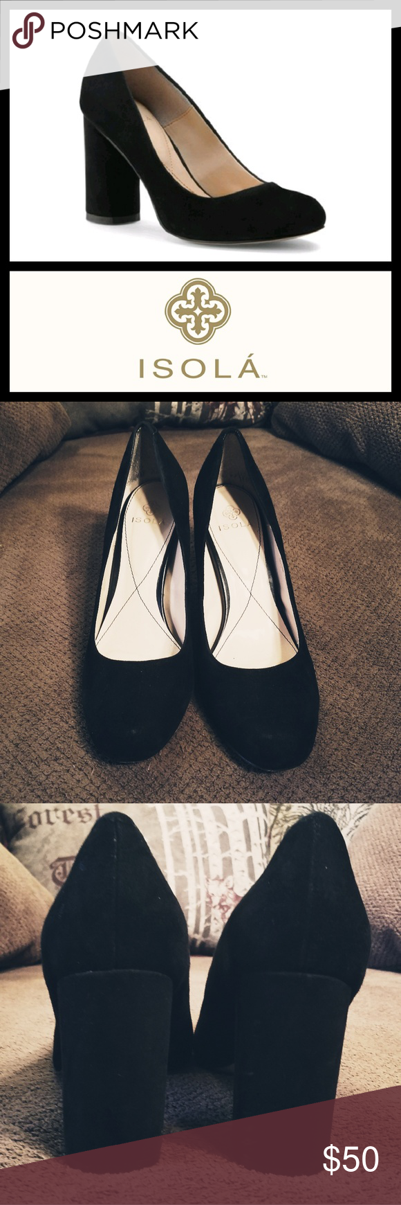 8829a26b4590 ISOLA Eleni Black King Suede Pumps 9 6214721 High society black suede pumps  with a 3 1 4