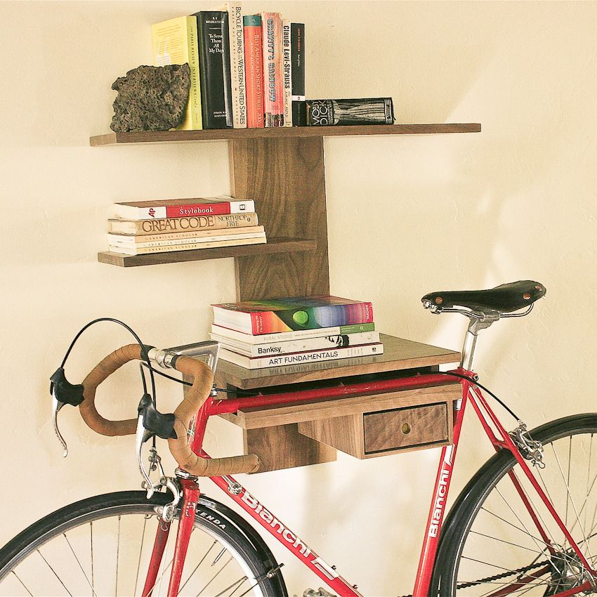 Book and bike shelf by heirloom and vine this is Bicycle bookshelf