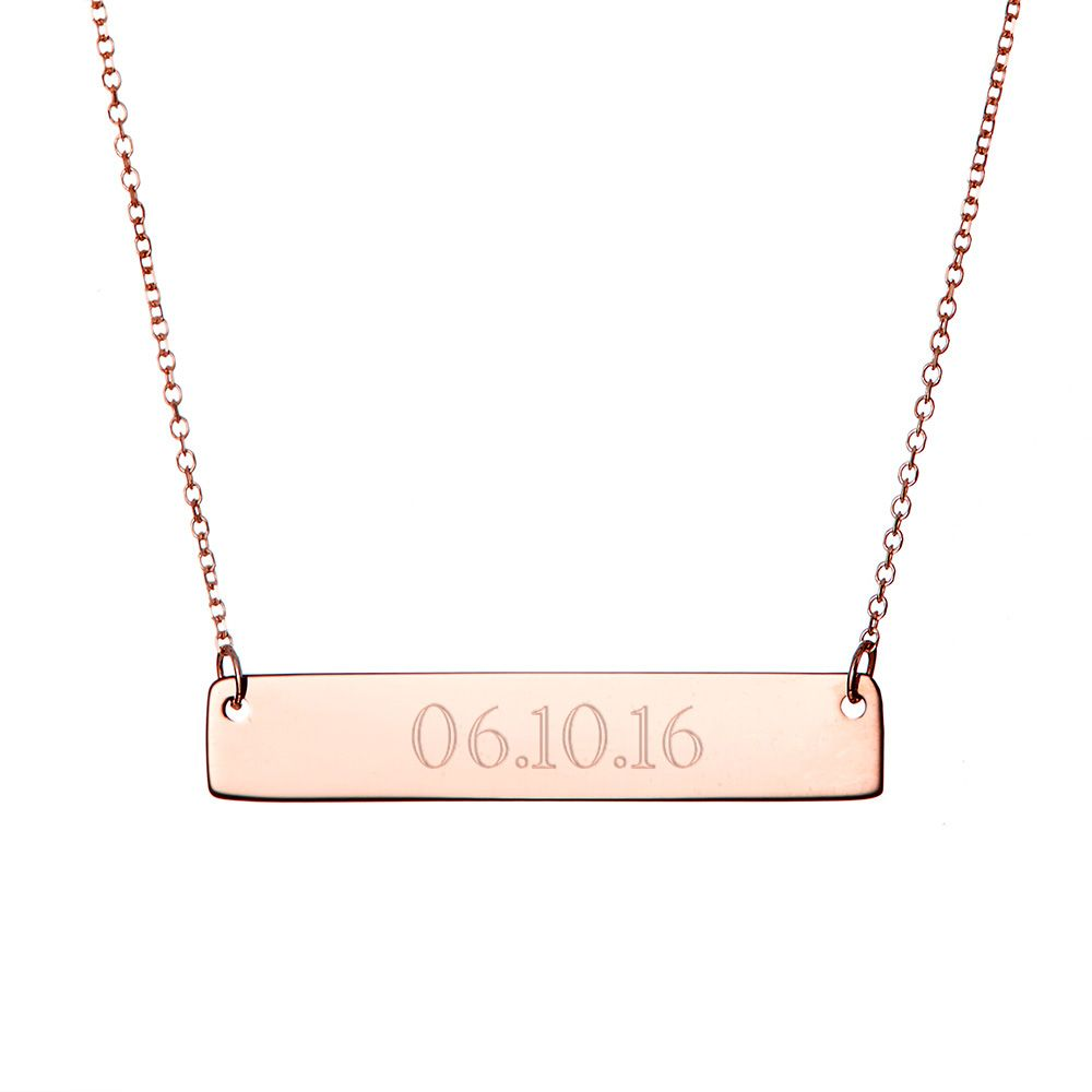 custom date rose gold bar necklace gift ideas pinterest gold