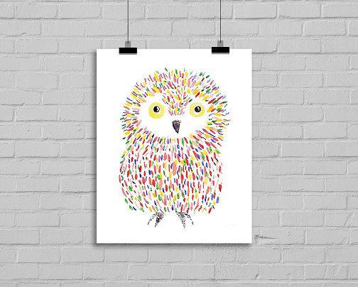 Little Rainbow Owl Bird 5x7 Print Watercolor Painting Art Print Watercolour Wall Art Watercolor