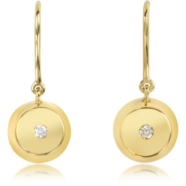 Aurelie Bidermann Telemaque 18K Gold and Diamond Bell Earrings ($1,990) ❤ liked on Polyvore featuring jewelry, earrings, yellow gold diamond earrings, engraved charms, heart shaped earrings, 18 karat gold earrings and 18k earrings