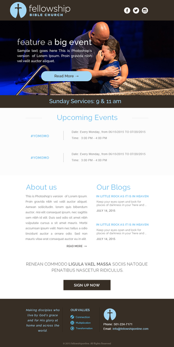 Email Newsletter Template For Church By Knorpics  Email Design