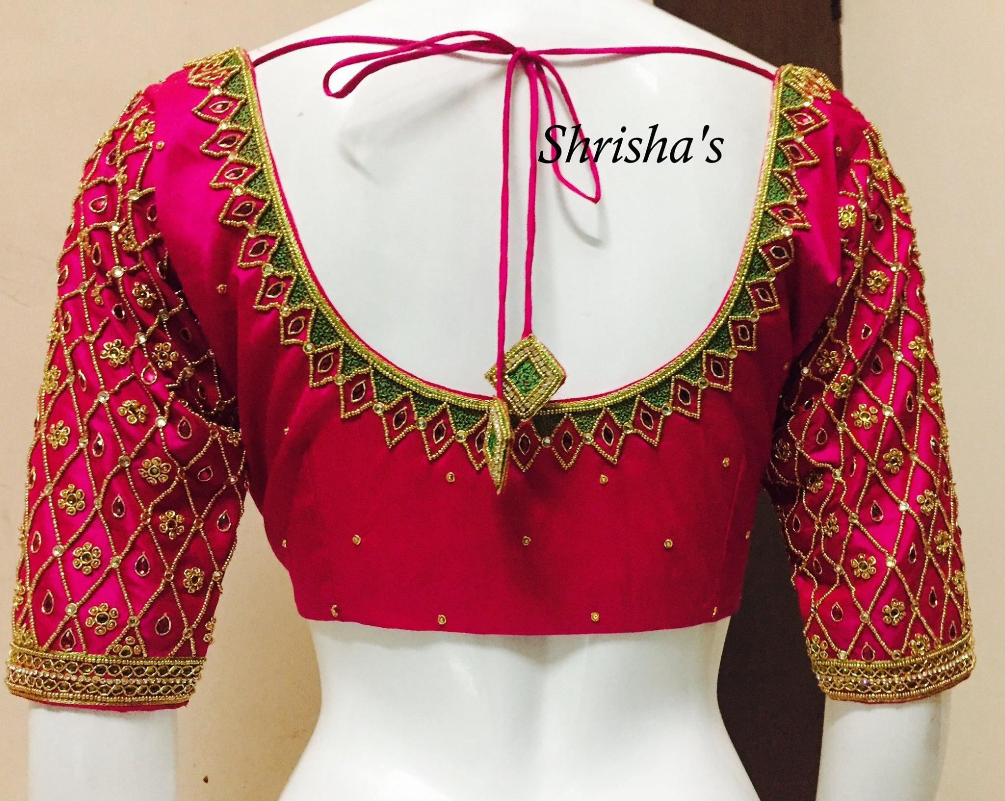 Blouse designs saree blouse back designs blouses neck designs 30 jpg - Embroidery Blouse Back Design From Shrishas 26 February 2017 Blouse Necksaree