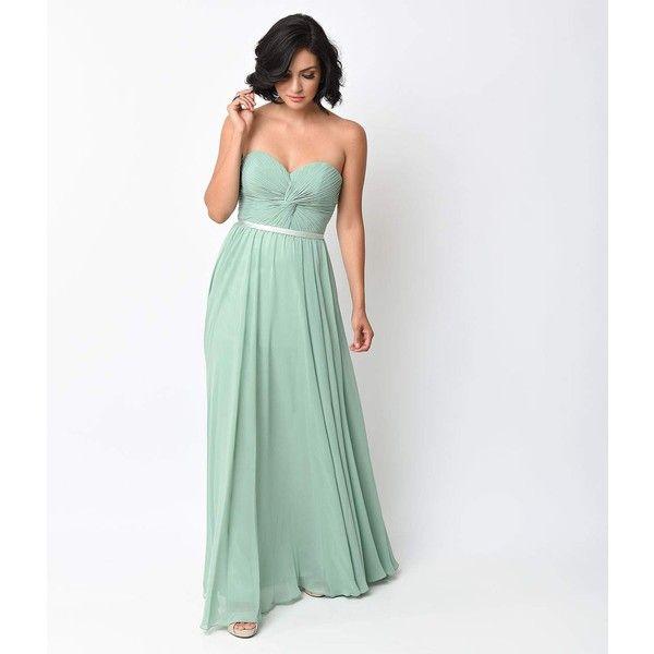 Sage Green Chiffon Strapless Sweetheart Corset Long Gown ($96 ...