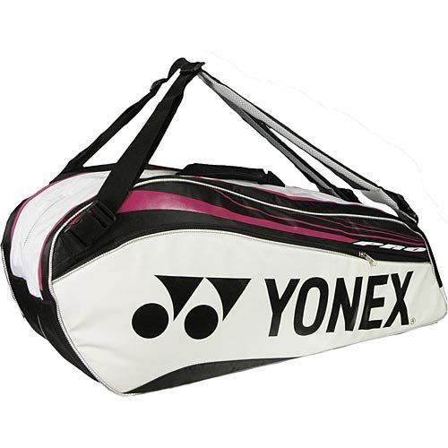 2012 Yonex 9226 6-pack White Pro Racket Bag by Yonex. $65.00. The Yonex Pro Series bag collection is carried by Yonex touring pros such as Hewitt, Ivanovic, Nalbandian, and Dementieva! The 2012 Pro Series is now offered in the new white and pink colorway and has room for up to 6 racquets and gear.Padded backpack straps with Yonex logos.2 separate zippered compartments holds up to 6 racquets.Separate wet/shoe compartment on bottom of bag.1 small exterior accessory compartme...
