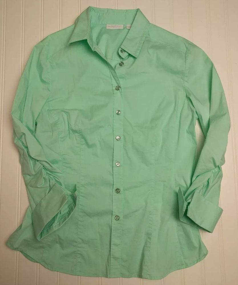 New York Company Shirt Medium Womens Green Button Front Blouse Top