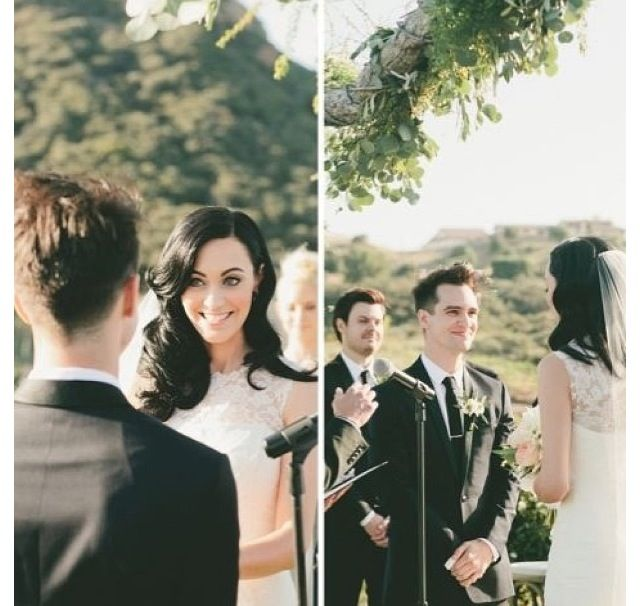 Urie Wedding Sarah And Brendon Look At His Smile Im Dead Brendon Urie Wedding Brendon Urie Wedding Dance Songs