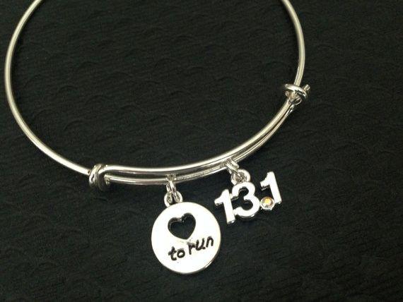Half Marathon Jewelry-13.1 Half Marathon Expandable Bangle Bracelet-Running Charm Bracelets