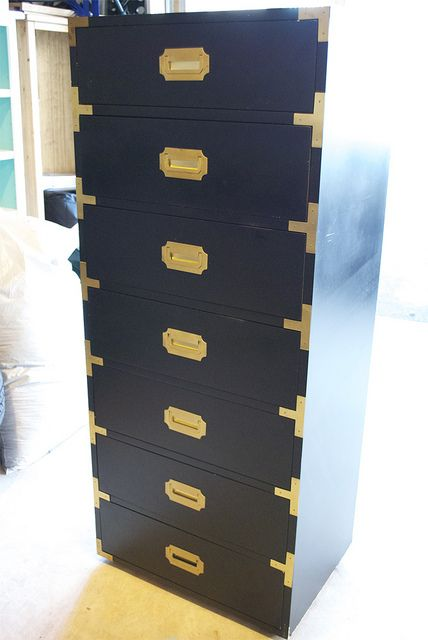 Hollywood Regency Style Dresser Campaign Furniture Furniture