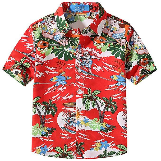 e60d23c8 SSLR Big Boy's Christmas Santa Claus Casual Button Down Hawaiian Shirt ( Small(8), Red)