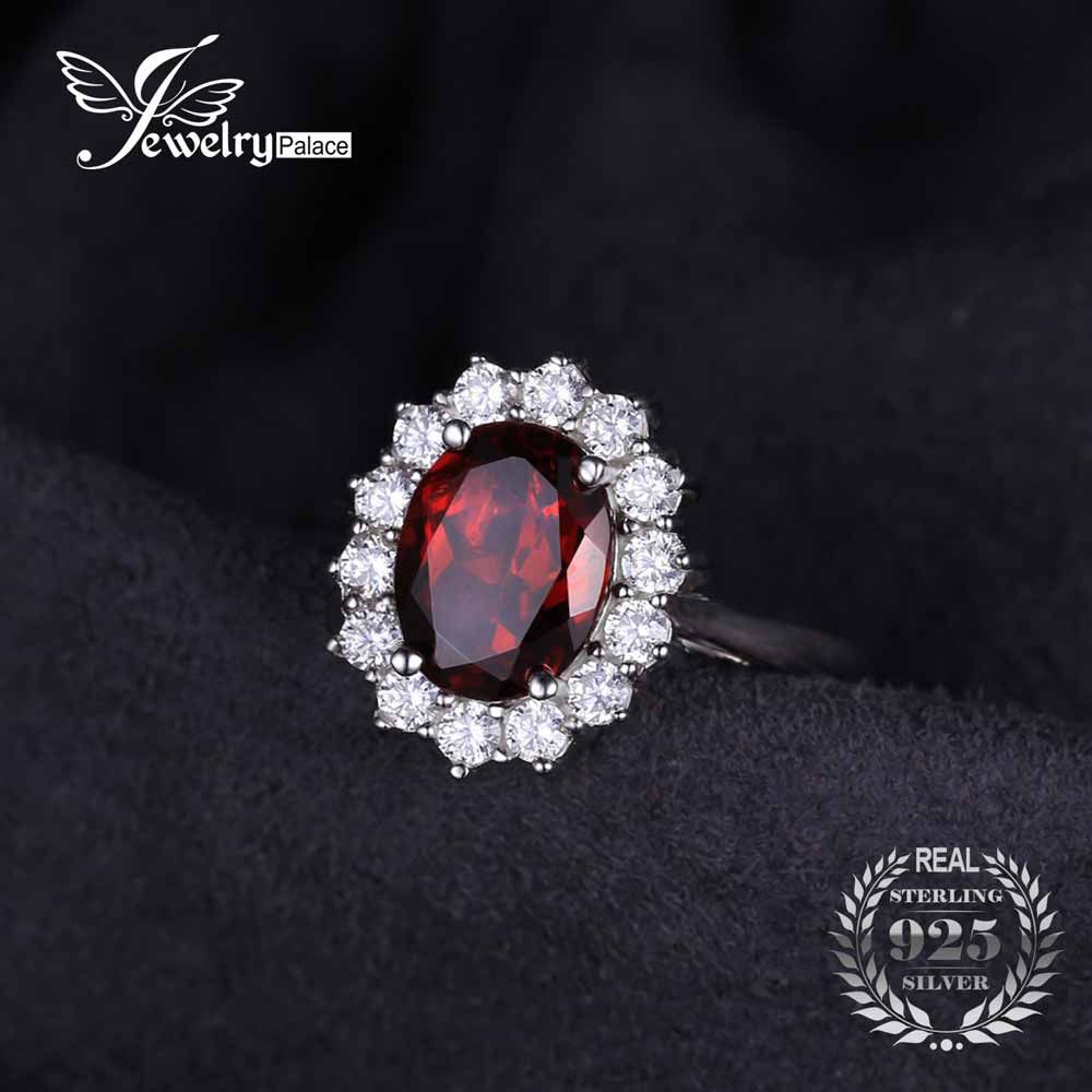 JewelryPalace Jewelry For Women Kate Princess Diana 2.5ct Natural Garnet Halo Engagement Ring Genuine Pure 925 Sterling Sliver  #Affiliate