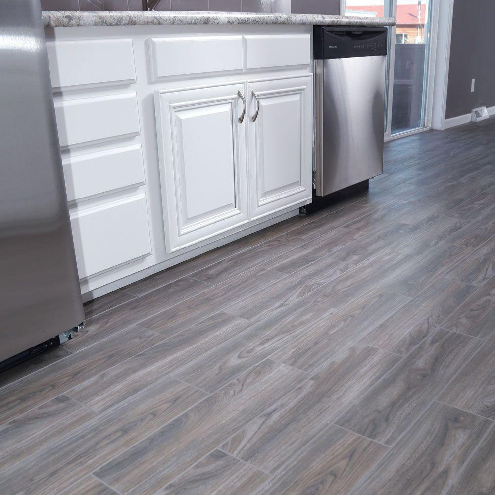 SnapStone Weathered Grey 6 in. x 24 in. Porcelain Floor