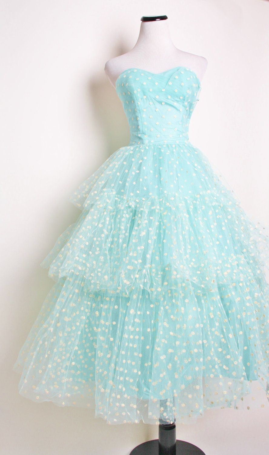 Reserved - Aqua strapless 1950s Wedding Dress with White Polka Dots ...