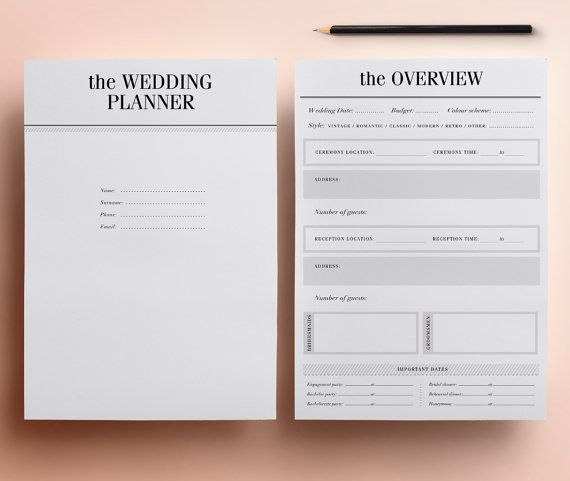 ULTIMATE Printable Wedding Planner Organizer Half Size Inserts - wedding plan