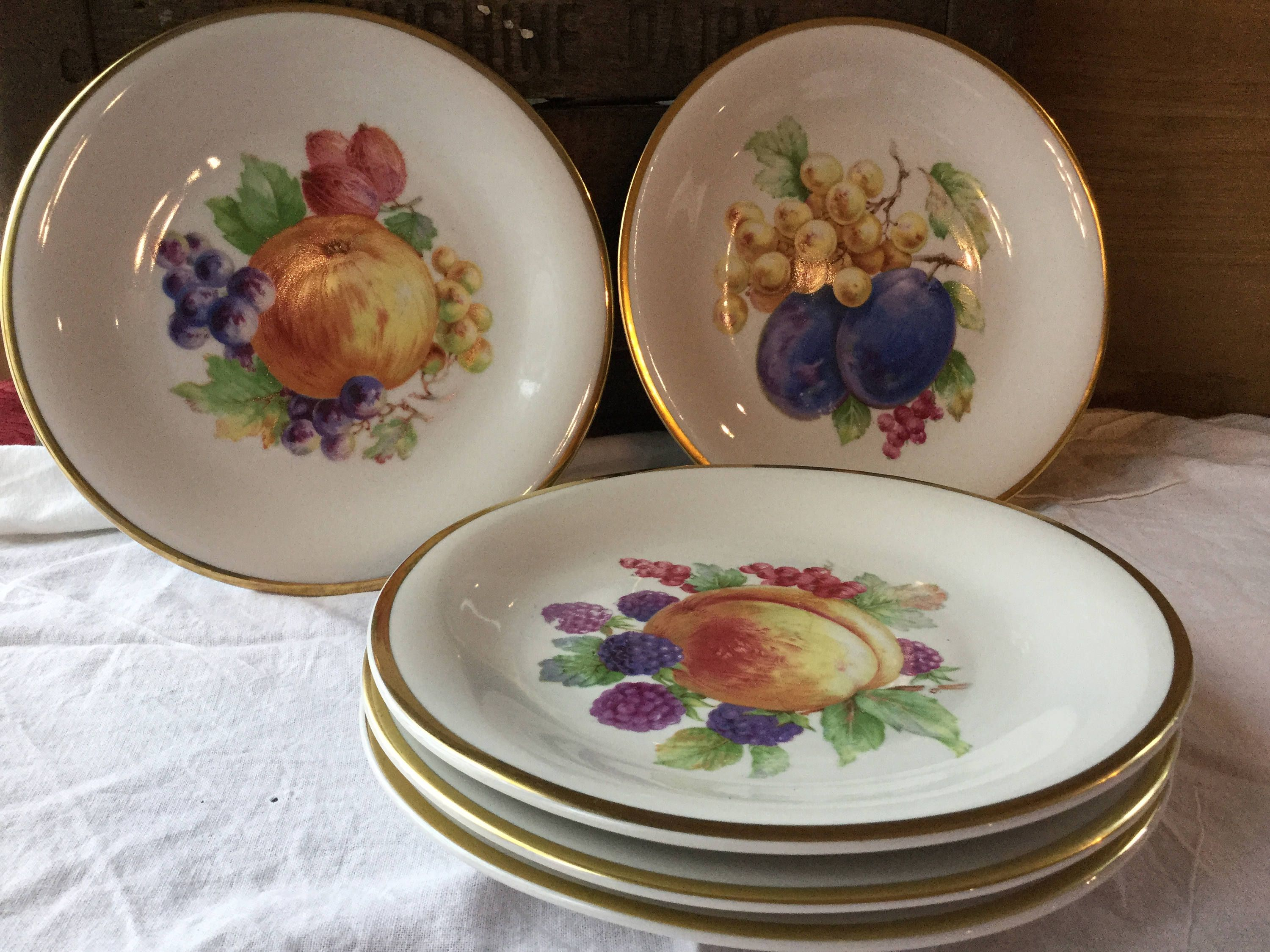 On Sale 1940/'s Schwarzenhammer Bavaria Fine Porcelain 7.50 inch Salad Plate with Purple Plum and Currants with Gold Rim Made in Germany