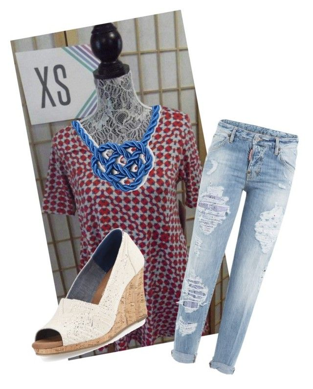 """llr"" by meleighmay on Polyvore featuring Dsquared2 and TOMS"