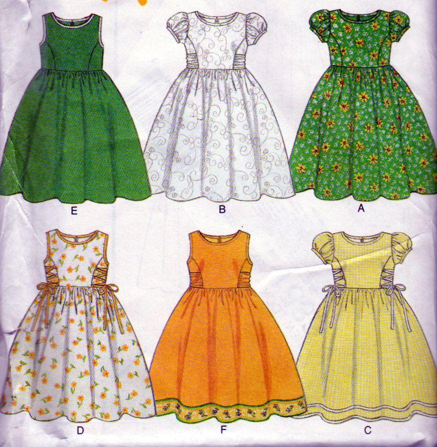 Little girls dress pattern sleeveless or puff cap sleeve