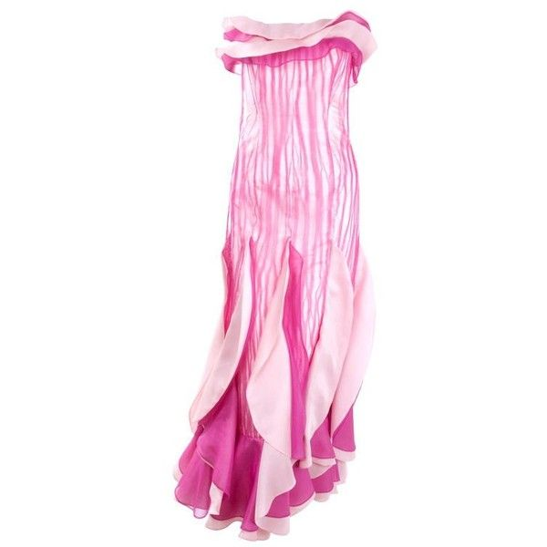 Pre-owned 80\'s Hanae Mori Bustier Evening Gown ($1,371) ❤ liked ...