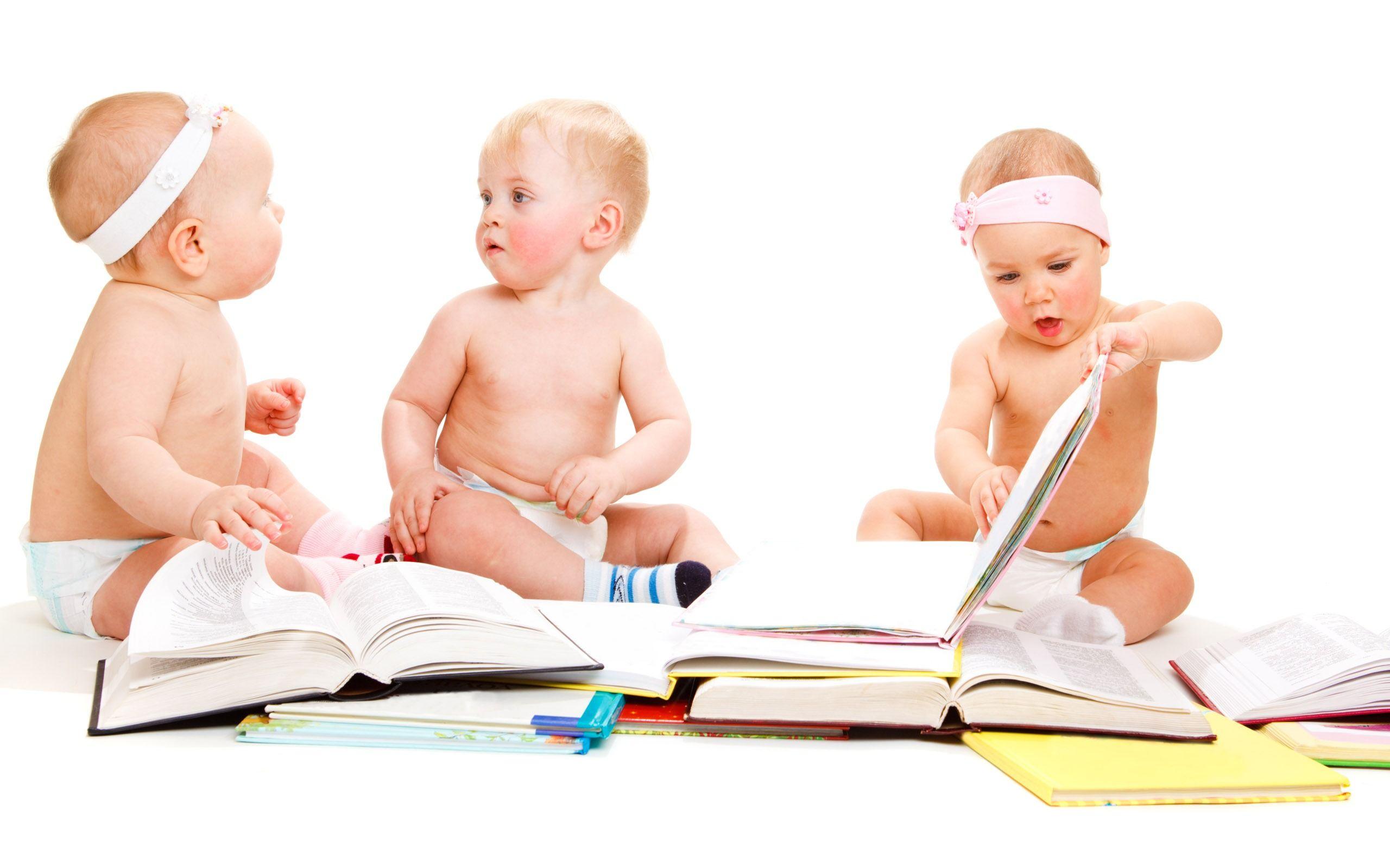 Cute babies and books widescreen wallpaper wide wallpapers net