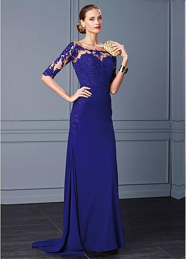 Elegant Tulle Off-the-Shoulder Neckline Sheath Evening Dresses with Beaded Lace Appliques
