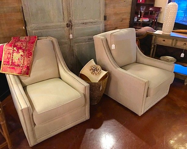 Taylor King Swivel Club Chairs   We Are Lucky To Have Four Of These  Beautiful Taylor King Swivel Club Chairs In Stock. They Have Beautiful  Nailhead Trim And ...