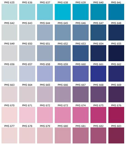 PANTONE Color Chart - PMS - Screen Printing | Inspiration ...