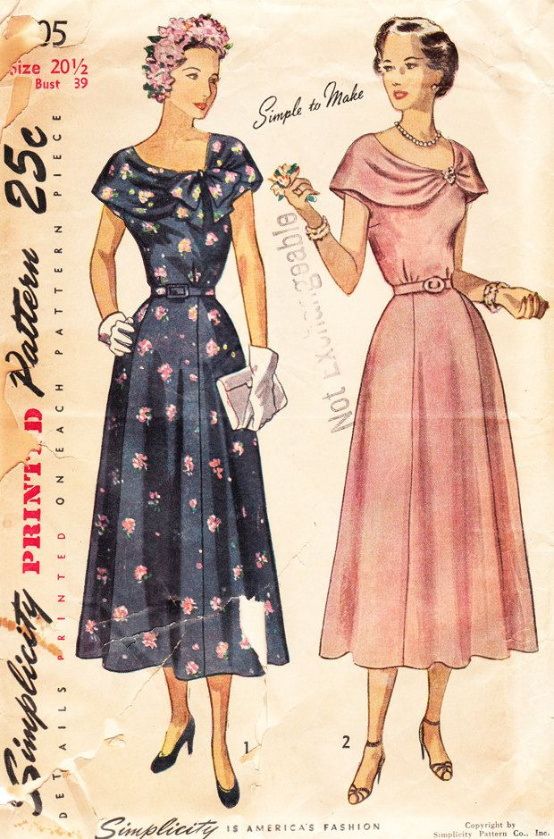Vintage 1940s Bertha Collar Dress For Misses and Women - Simplicity ...