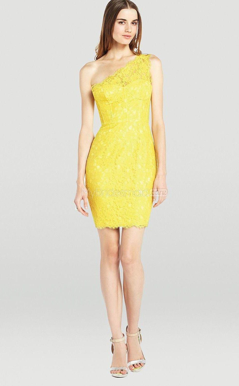 One Shoulder Short Yellow Bridesmaid Dresses