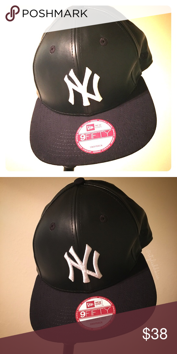 ee1a18ea9308c Black leather NY Yankees Cap New! New York Yankees MLB Smoothly a States  SnapBack BLK. Style   20789133 Size  990 9Fifty Original Fit New Era  Accessories ...