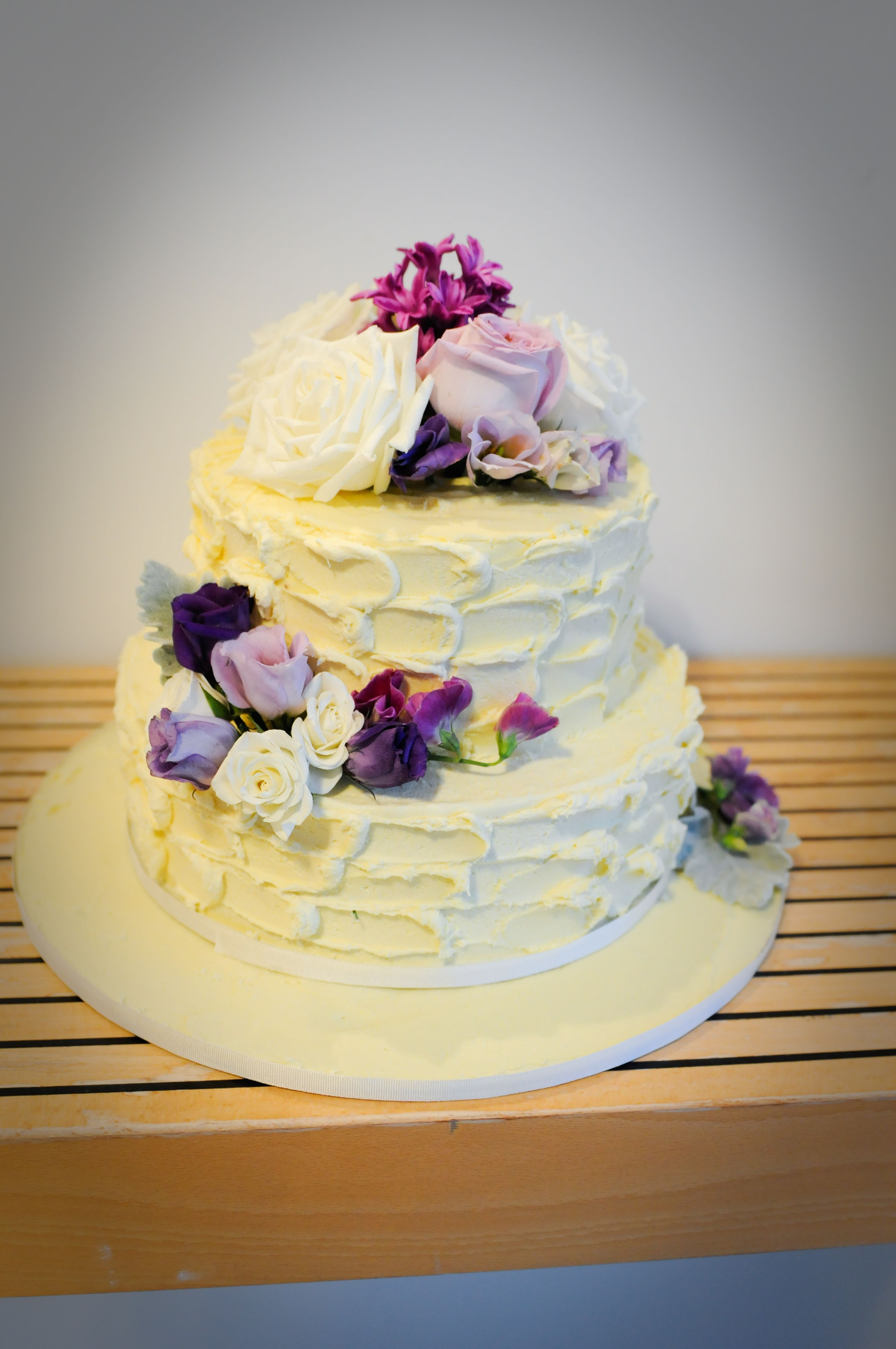 2 Tier White Chocolate Ganache Cake with fresh flowers | Bridal ...