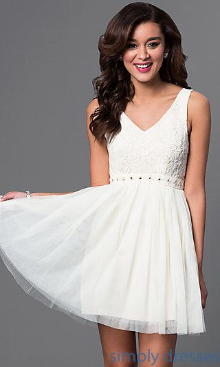 41c0889129 Lace-Embroidered Short V-Neck Beige Dress