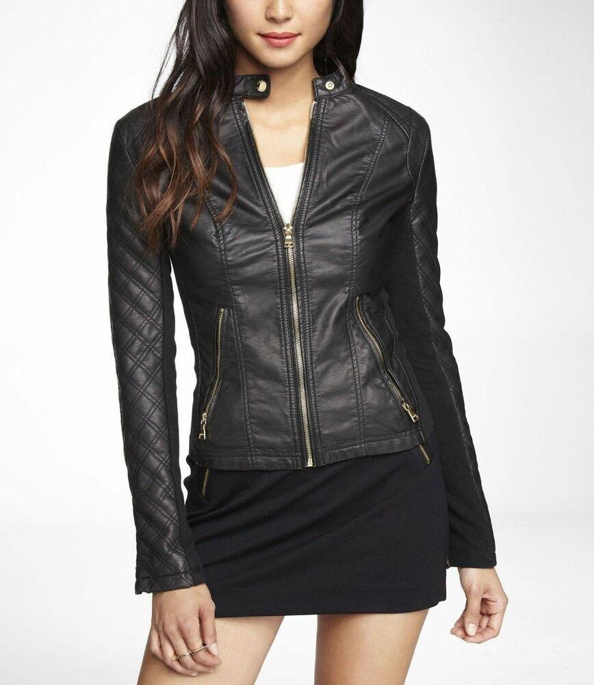 Womens Black Biker Leather Jacket Motorcycle Genuine Lambskin Size S M L XL XXL