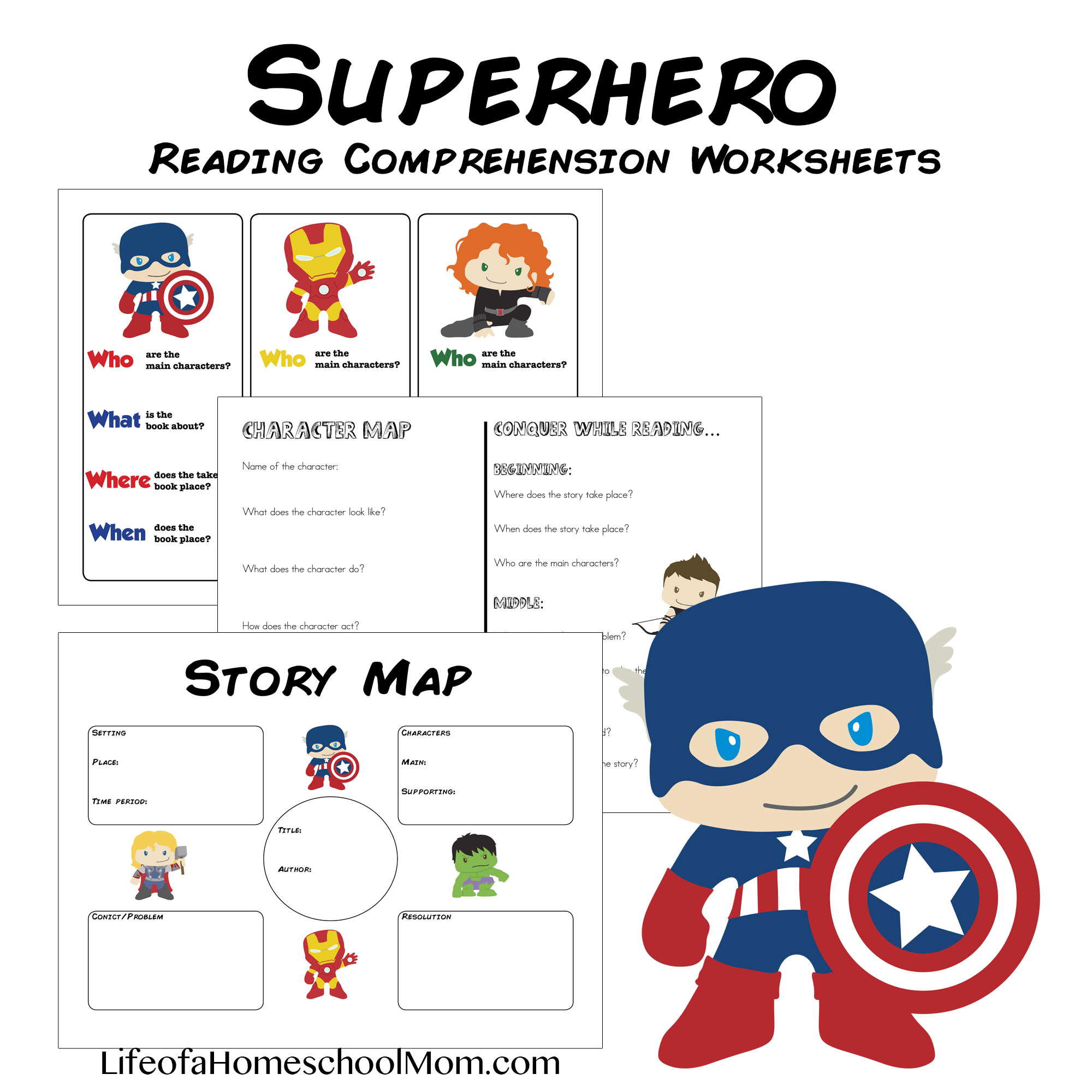 Superhero Reading Comprehension Worksheet Pack