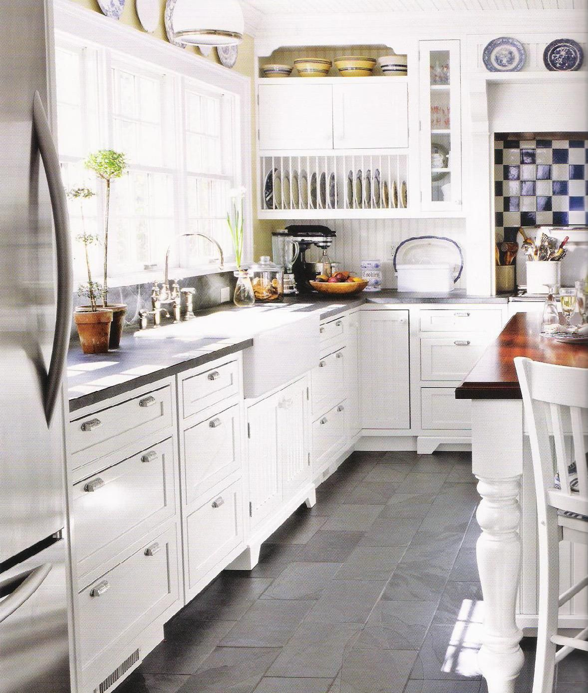 White Kitchen Cabinets Tile Floor: Like Slate Looking Floor, Plate Rack, Painted White Island