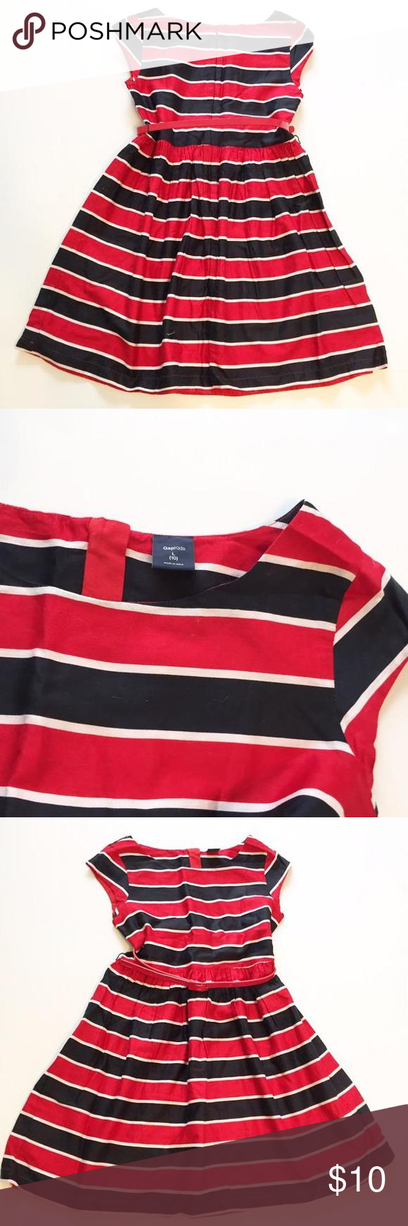 Gap black u red striped dress sz gap kids black u red striped
