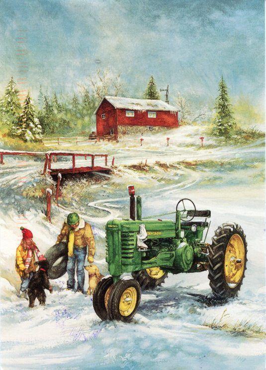 Kevin Daniel Ahead of the storm Deer John Deere Country Art Print 16 x 12