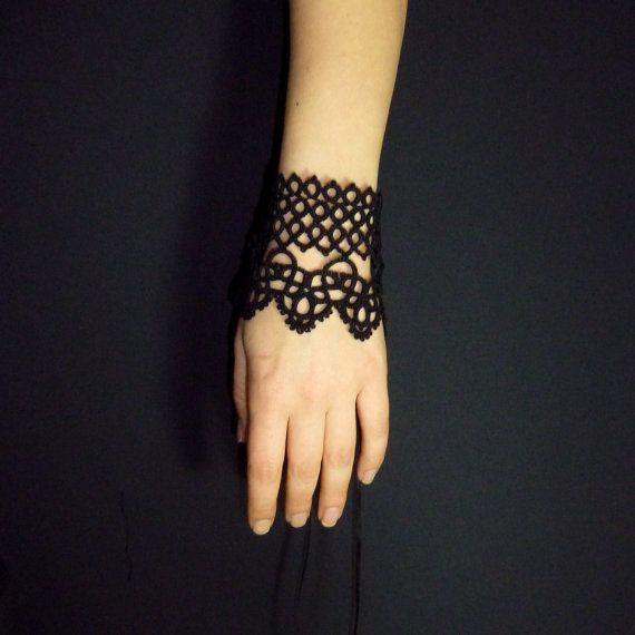 Intricate Wrist Cuff Henna Tattoo Stencil: Statement Cuff Bracelet Bold Black Lace Cuff Goth By