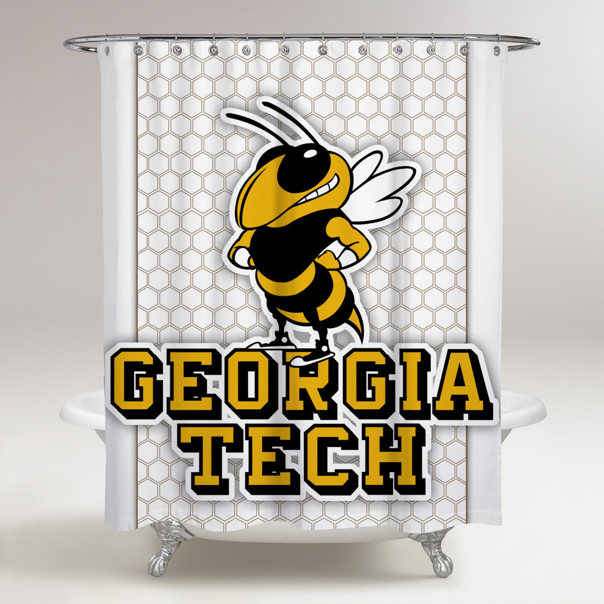 Georgia Tech Yellow Jackets Logo White Background Printed Shower