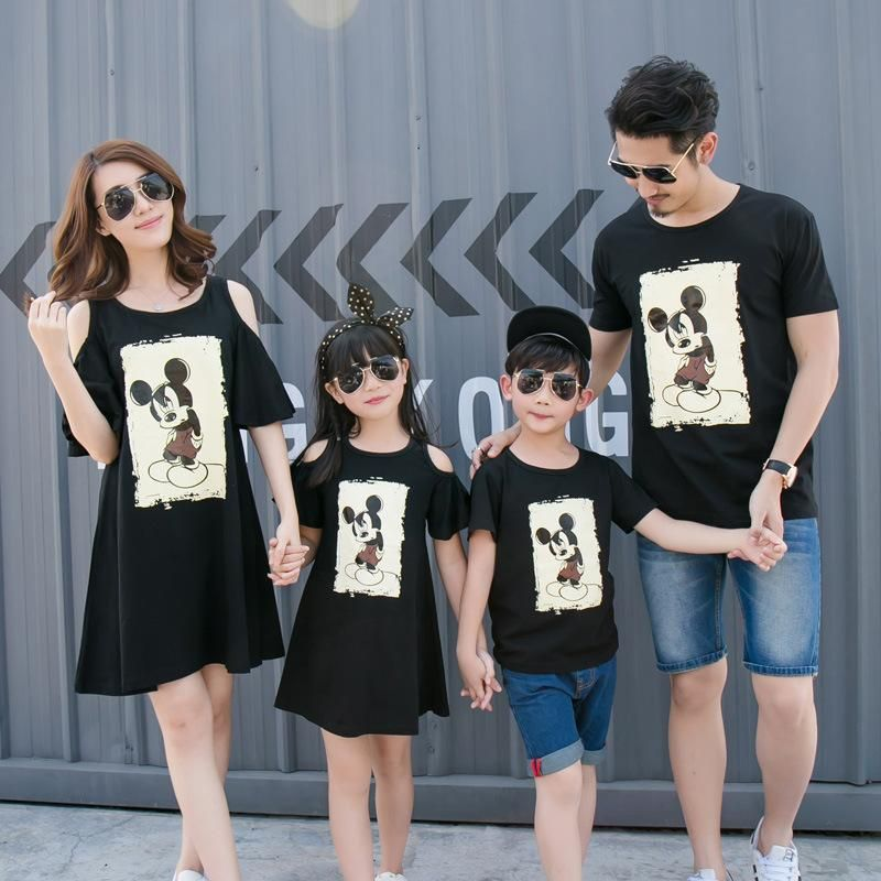 397788784136 Mother   kids Family matching clothes summer korean style mother and  daughter dress cartoon mouse boys T-shirt family clothes