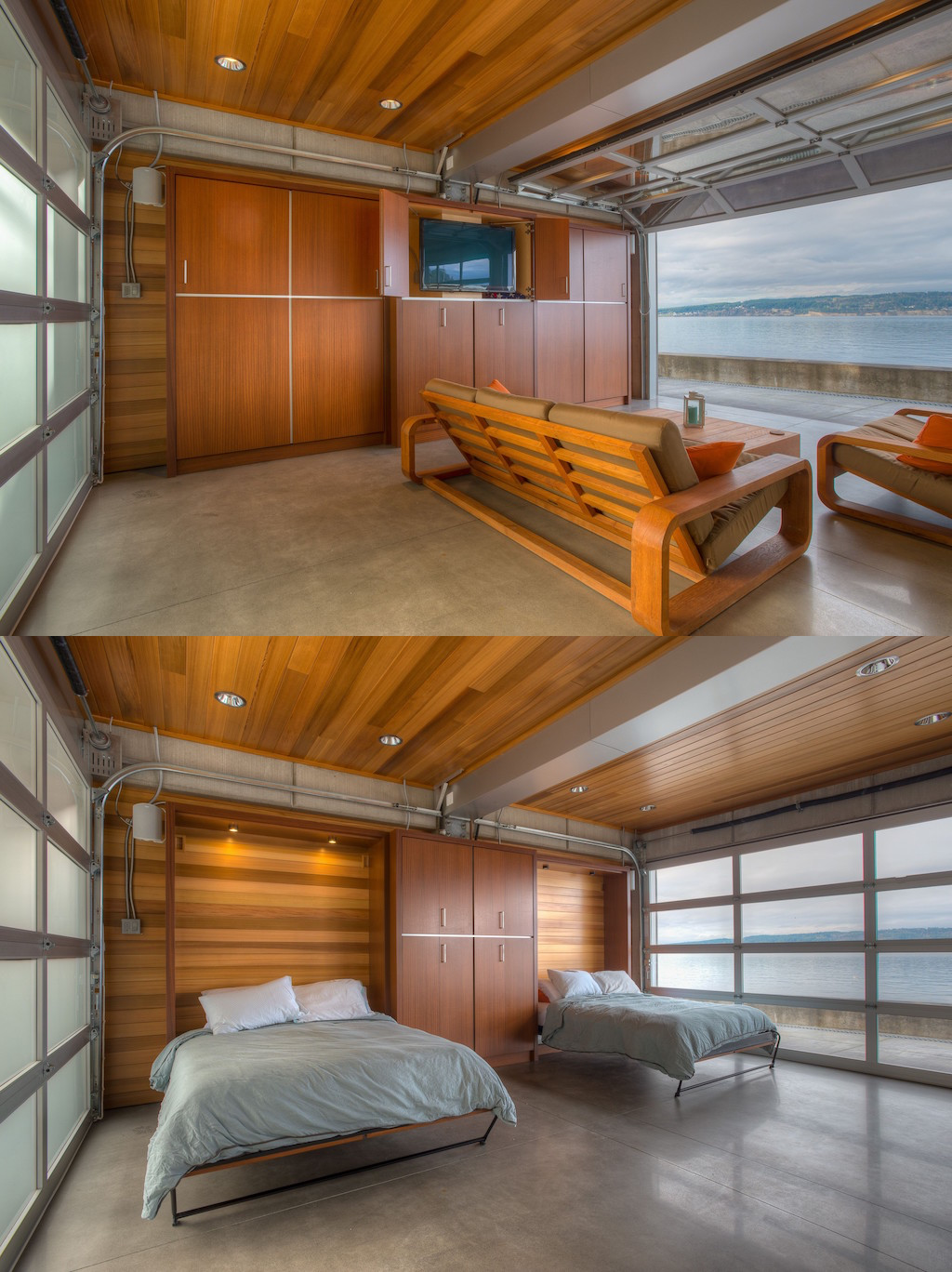 Murphy beds in a garage door walled living room letting out to a murphy beds in a garage door walled living room letting out to a bay rubansaba