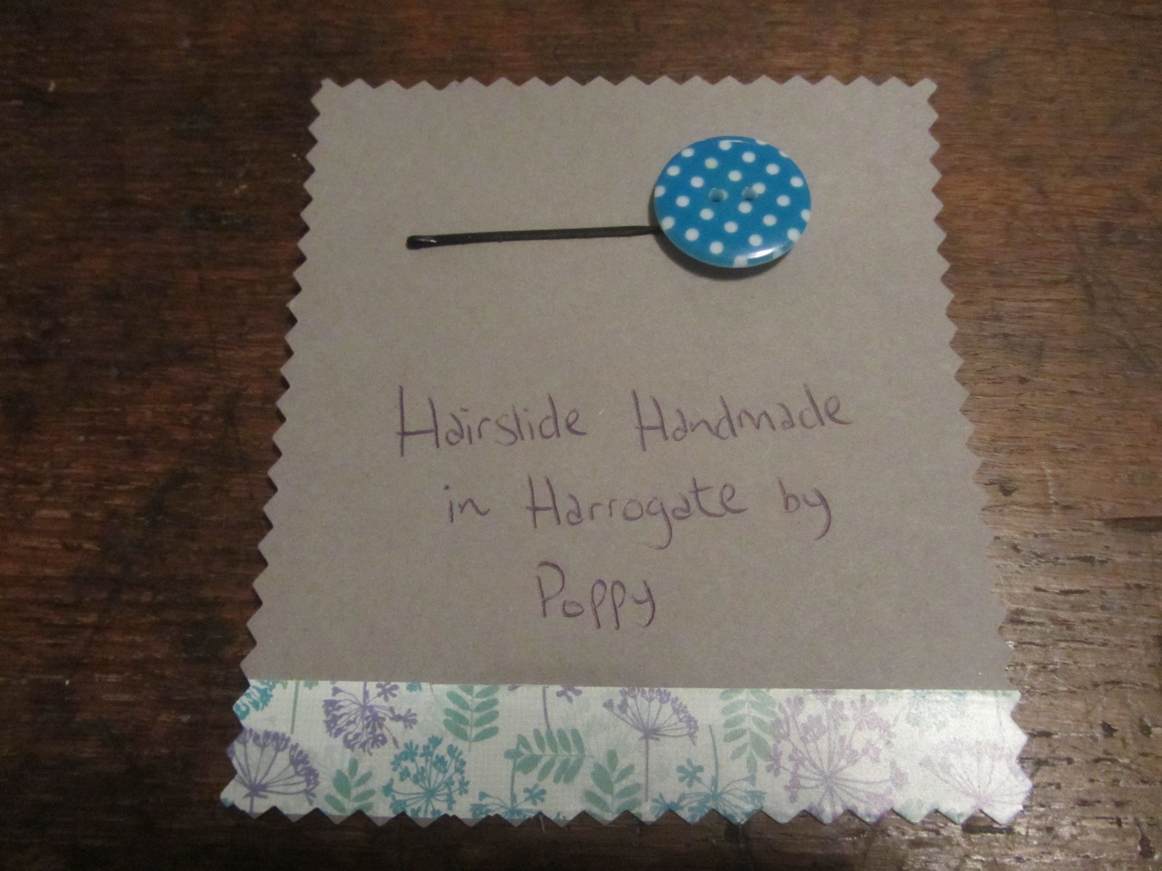 #Hairslides #Handmade in #Harrogate by Poppy. I love this turquoise and white polka dot button. My range of handmade hairslides are available at Hush Jewellery shop in the Victoria Shopping Centre in Harrogate, North Yorkshire. Come in and see us, we have a fantastic range of jewellery, scarves and accesories. Or have a look at the shop on their Twitter, @HushJewellery, and my hairslides on Twitter @Poppys_Buttons. Thank you!