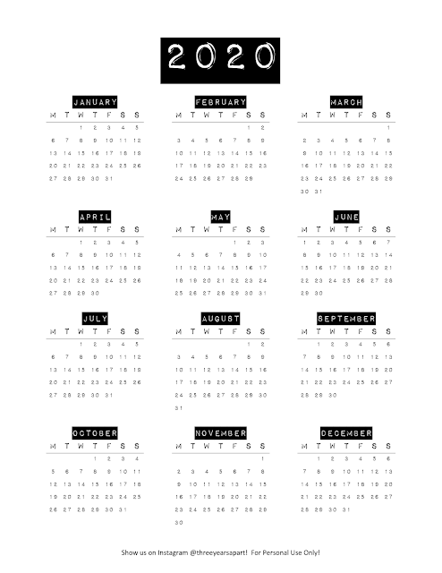 2020 Yearly Calendar Free Printable  Bullet Journal and Planner Free Download YearataGlance  Future Log  3 Years Apart