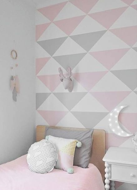 wallpaper for girls room mommo design: TRIANGLES ON THE WALL | k i d s r o o m s in 2018  wallpaper for girls room