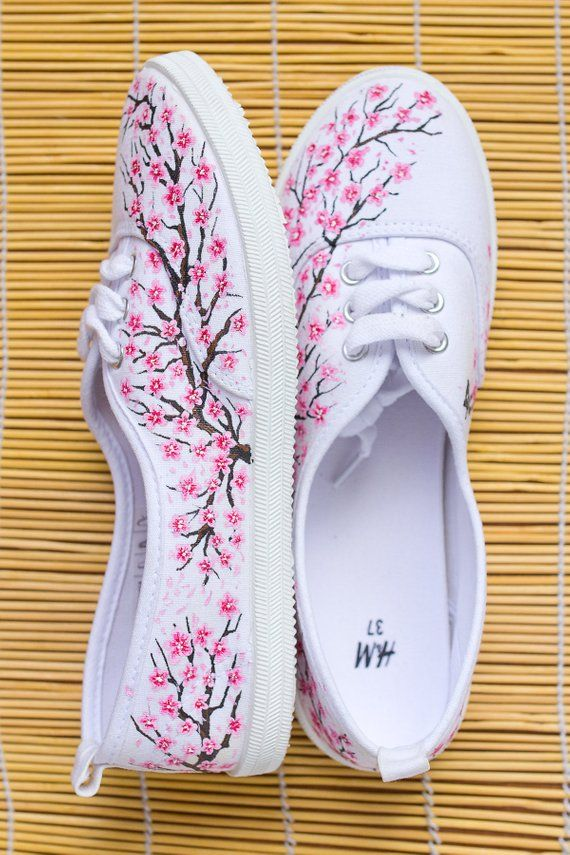 62db9bf9728fcf Hand painted Women Sneakers with Sakura