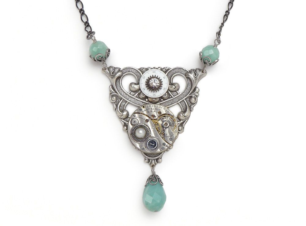 Steampunk Necklace silver pinstripe pocket watch gears antique 1900 aquamarine blue Amazonite pearl