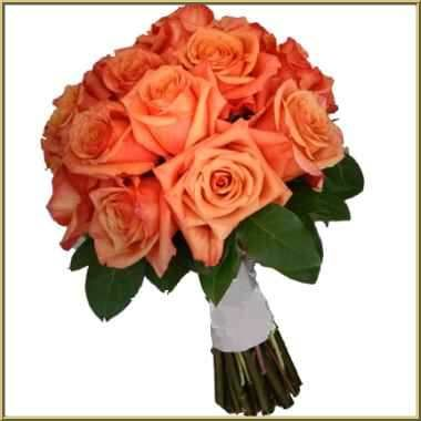 Light Orange Roses With Some White Flowers And Gold Added To It Possible Bridesmaid Flower