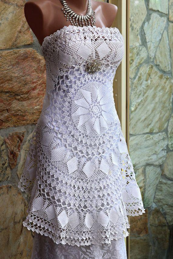 Crochet lace wedding dress/OOAK/ alternative wedding от