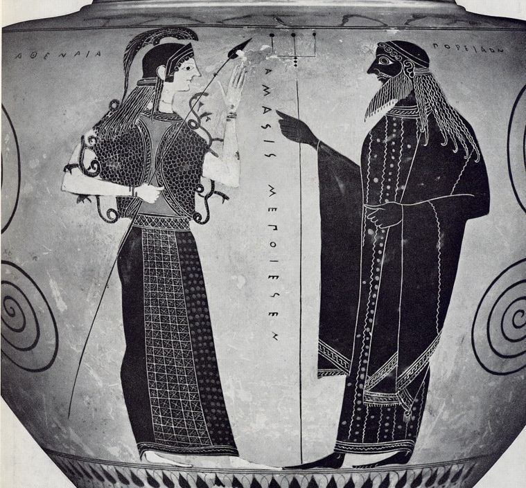 A black figure vase painting of Poseidon (right) and Athena (left). In ancient Greek art, divinities always had certain characteristics that distinguished them from one another. Poseiden, like Zeus, is normally shown as throwing something, normally his trident. Here, he is holding his trident in his right hand. Athena, as seen before, is wearing a long gown, her snake robe, a spear, and a crested helmet.