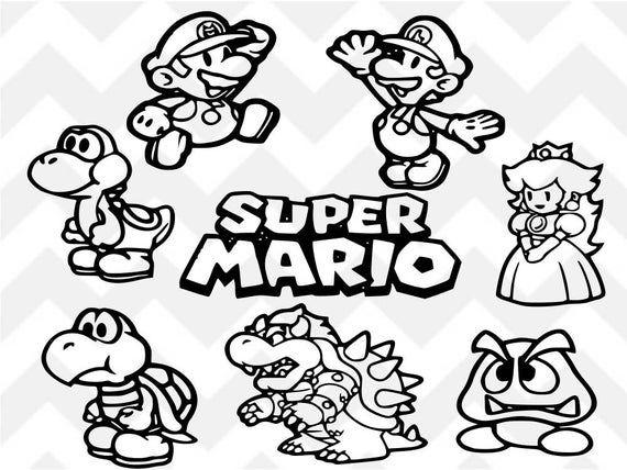 Super Mario Svg Mario Svg Luigi Svg Bowser Svg Princess Peach Svg Yoshi Svg Silhouet Super Mario Coloring Pages Mario Coloring Pages Super Coloring Pages