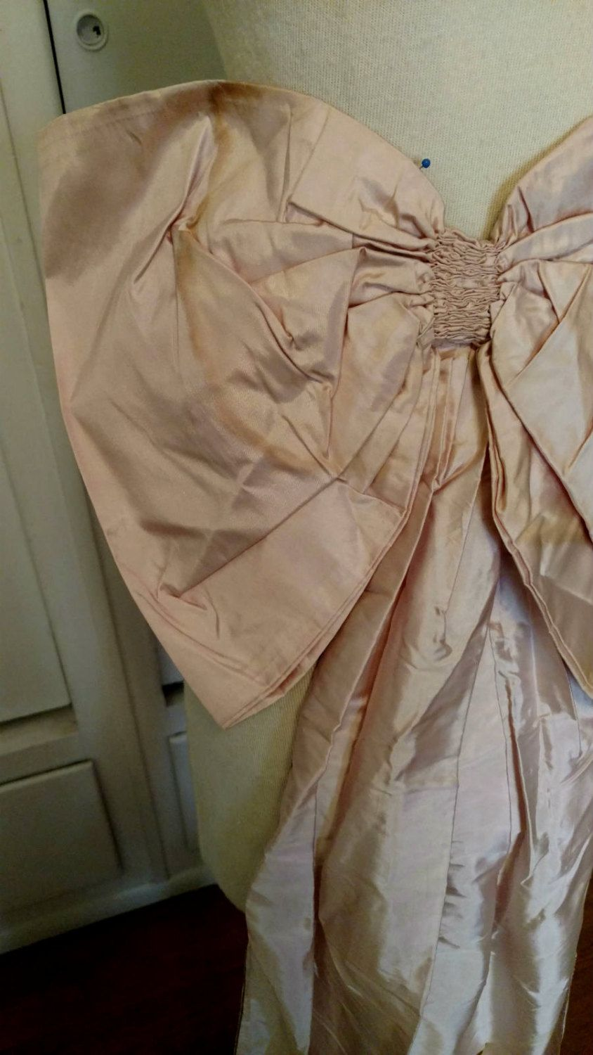 Victorian Ribbon Sash Pink Silk Taffeta Antique Bow Streamers From Ball Gown Dress by TheGatheringVintage on Etsy